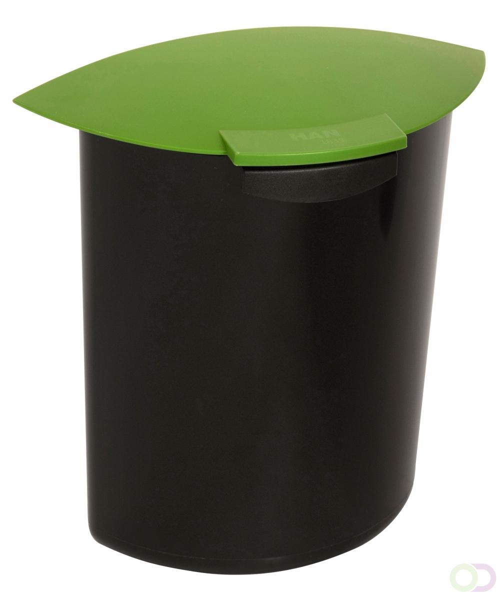 Merkloos Afvalbak Inzet 6 liter met deksel, Groen