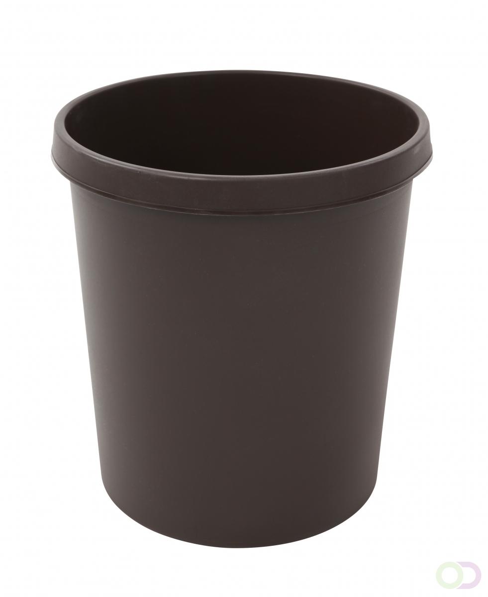 Merkloos Afvalbak Rond 18 liter, Bruin