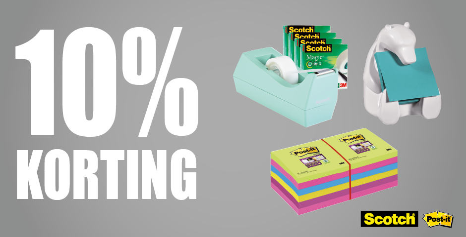 10% korting Scotch en Post-it
