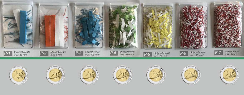 #formaten papiersnippers vergelijken met een twee euro munt
