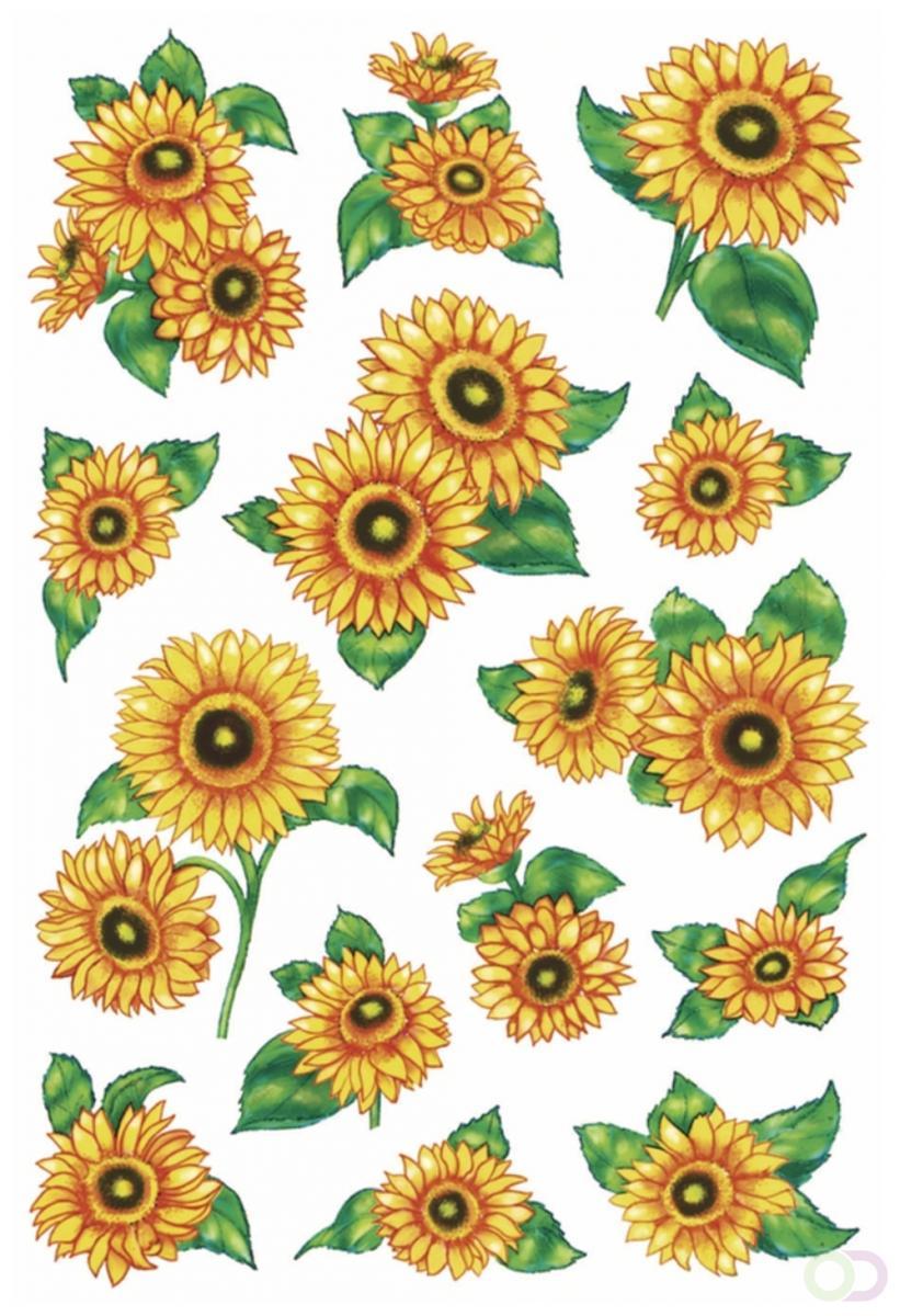 Decoratie Herma etiketten Decor zonnebloemen glanzend 2 vel