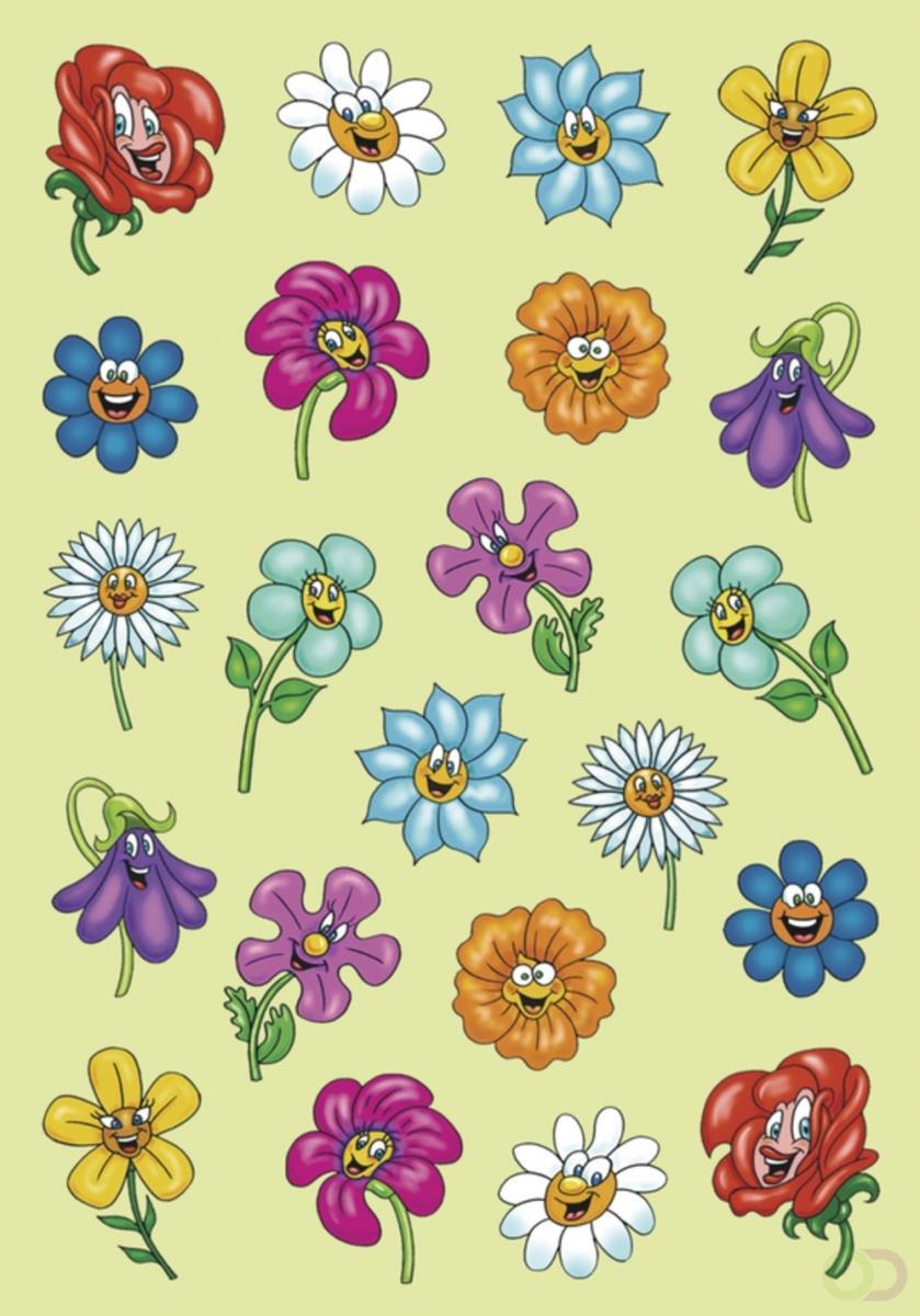 Decoratie Herma etiketten Magic gezichten van de bloem Puffy 1 vel
