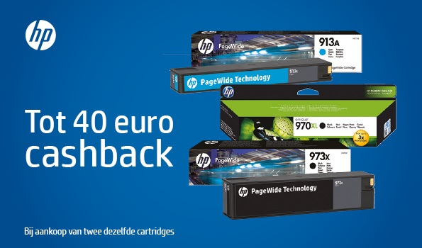 Tot 40,- euro cashback op HP Pagewide cartridges