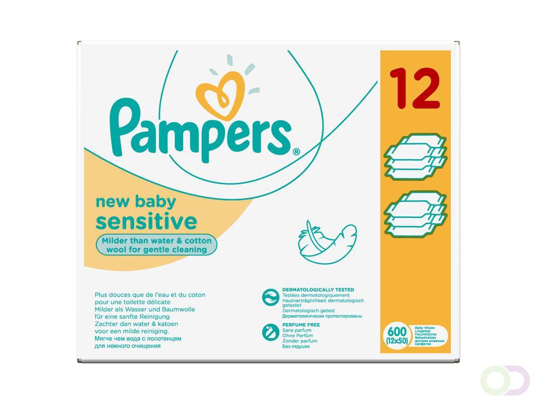 Pampers sensitive babydoekjes (12x50 stuks)