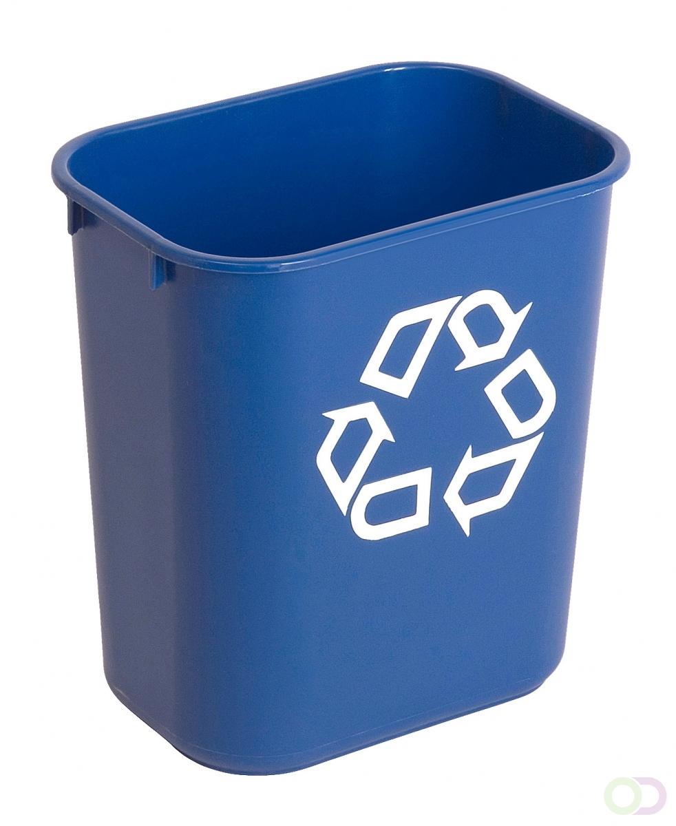 Rechthoekige afvalbak 12,9 ltr, Rubbermaid blauw, recyclingsymbool