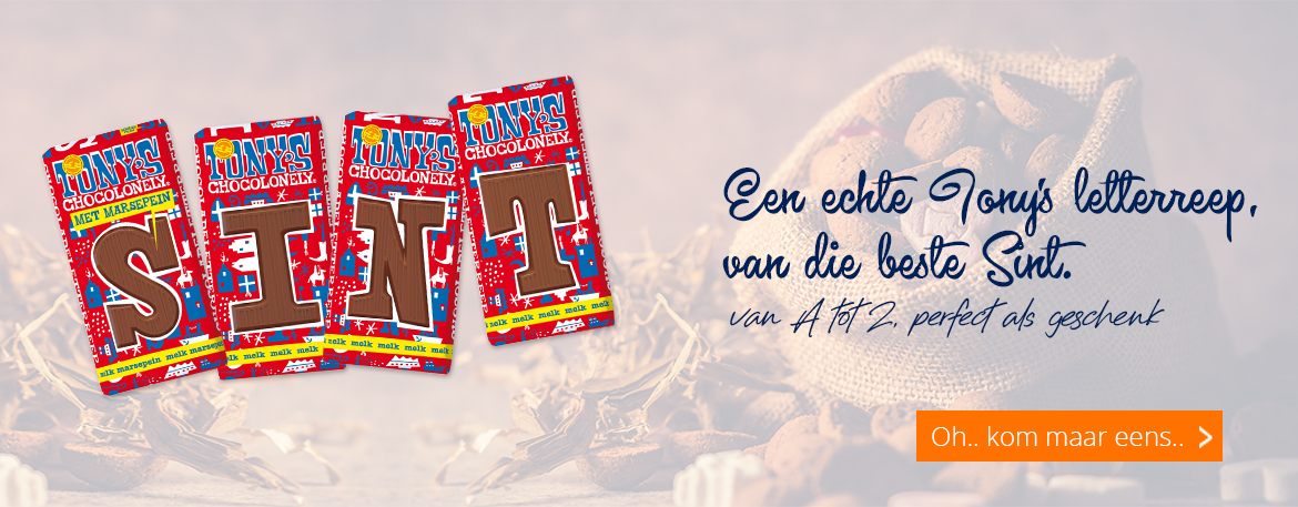 Tony's chocolonely chocoladeletters met 30 procent korting!