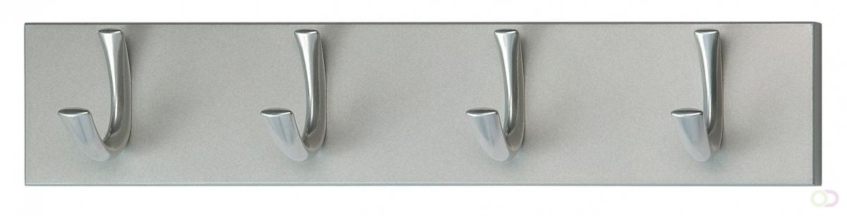 Wandkapstok met 4 Haken, Aluminium-Grijs