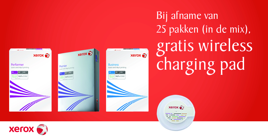Gratis wireless charging pad bij Xerox papier