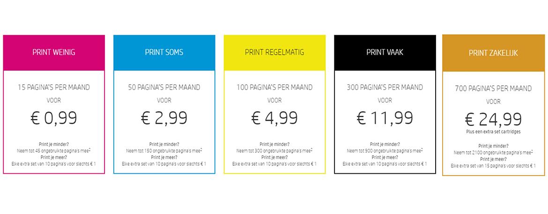 verschillende pakketten voor Instant ink