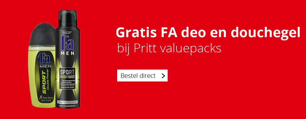 Gratis FA deo en douchegel bij Pritt Valuepacks