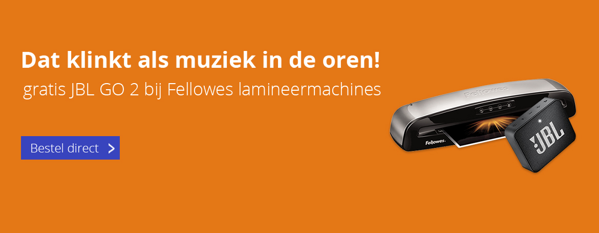 Gratis JBL speaker bij een Fellowes lamineer- of inbindmachine