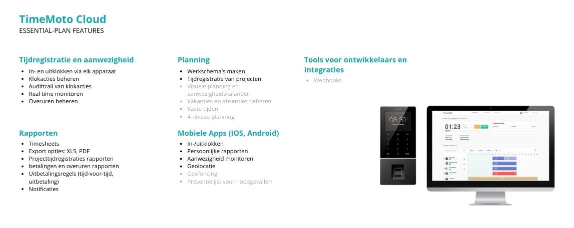 #Functies van het TimeMoto Cloud Essential-plan